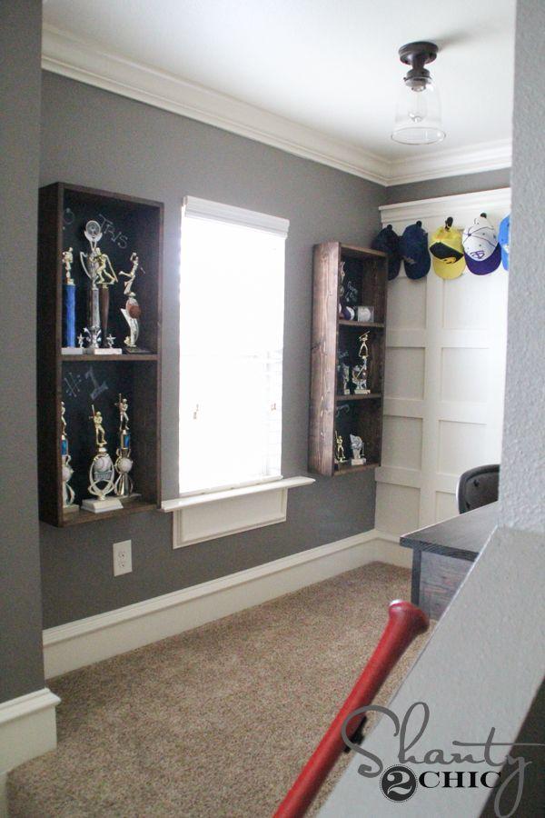 DIY Trophy Case for a Teen Boy Room - Shanty 2 Chic