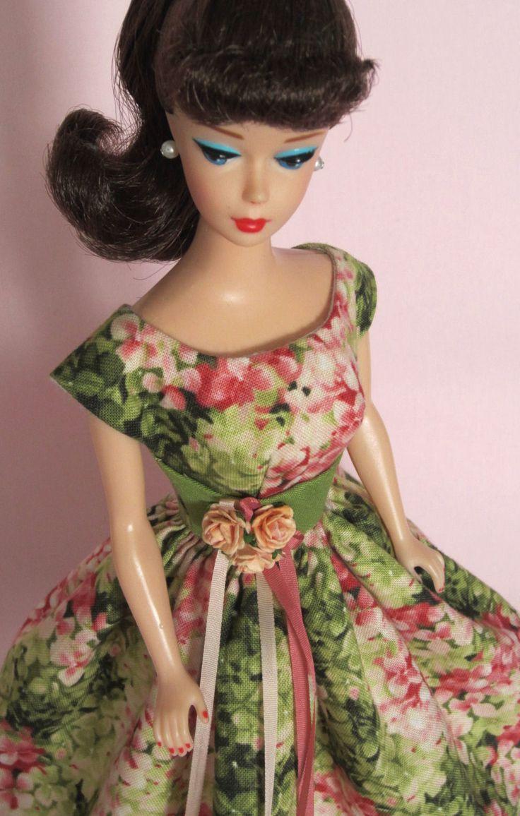 Coral Floral on eBay auction right now! Beautiful! Vintage Barbie Doll Dress Reproduction Barbie Clothes on eBay http://www.ebay.com/usr/fanfare1901?_trksid=p2047675.l2559