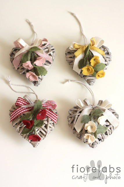 wood hearts with felt flowers