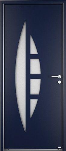 Modèle Apollo Porte d'entrée aluminium contemporaine mi vitrée 1 grande ½ lune en vitrage affleurant sans cadre de vitrage, vitrage sablé non sérigraphié pour un prix accessible, poignée rosace contemporaine Bel'M, barillet standard. Compatible avec le SFX Surface.