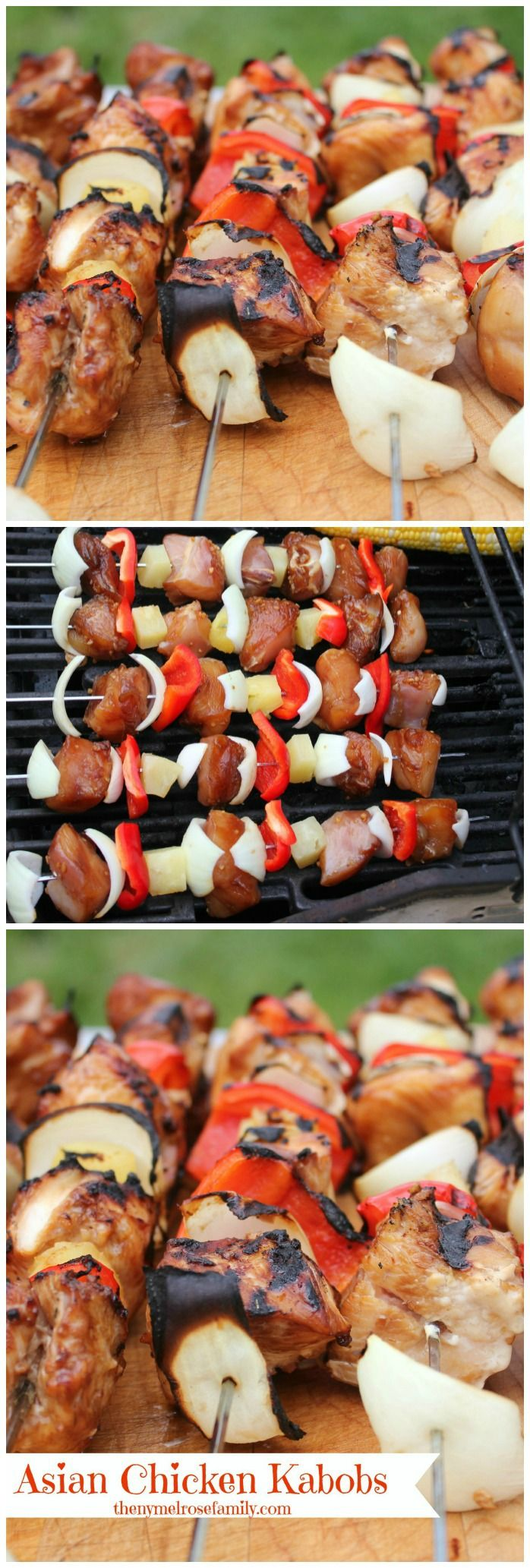 Asian Chicken Kabobs *** soak Skewers overnight, cook in oven at 400 degrees if grill doesn't work)