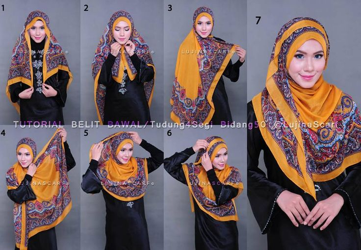 Cute square silk hijab