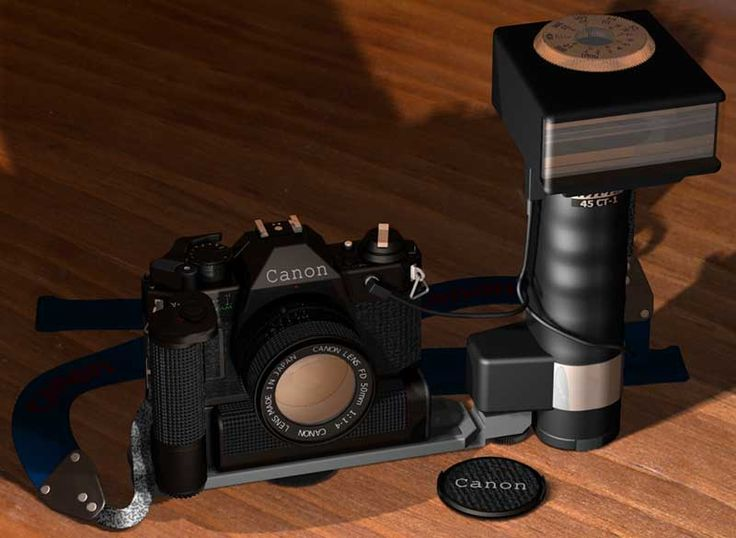Old Canon AE-1 programme and Metz Mecablitz flash. 3D model/rendering created by Craig Davis using TurboCAD CAD software | #TurboCAD #CAD