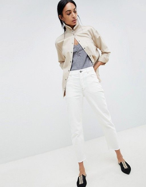 7518f143c0ff31 DESIGN Florence authentic straight leg jeans in white with contrast stitch  | 2444444444 | Asos, Jeans, White jeans