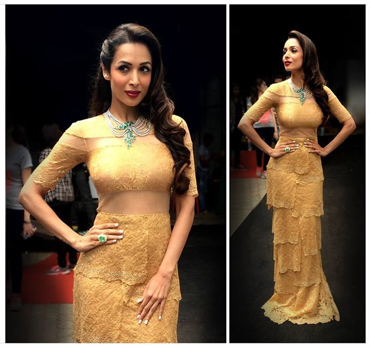 #Spotted Bold & Beautiful #MalaikaAroraKhan in Shantanu & Nikhil Spring Summer 15 decadent sculpted gold Gown, certainly nails it for that perfect red carpet look. #Redcarpet #SpringSummer15 #ShantanuNikhil