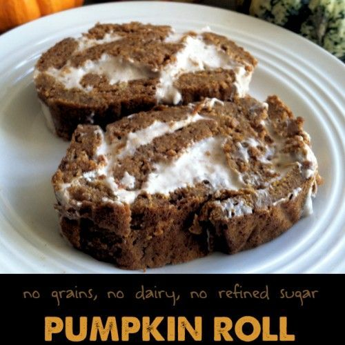 Paleo friendly pumpkin roll that is grain and dairy free and tastes amazing! Gluten Free.