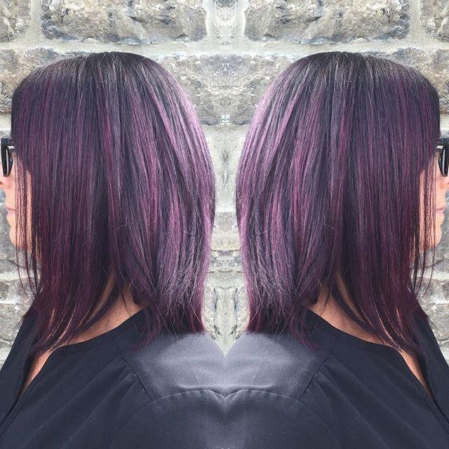 Fun day in the salon today! From black to plum @revlonprocanada #aphroditiescapespaandsalon #kemptville #ontario #plumhair #purplehair #revlon #balayage