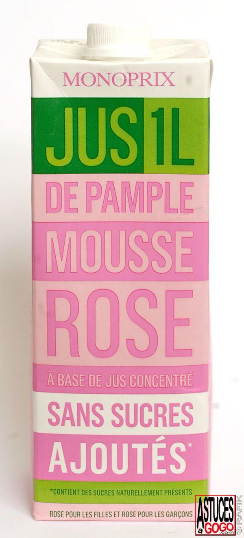 Rose pour les filles. Rose pour les garçons. #Pomelo #Grapefruit #Pamplemousse #Monoprix #Packaging