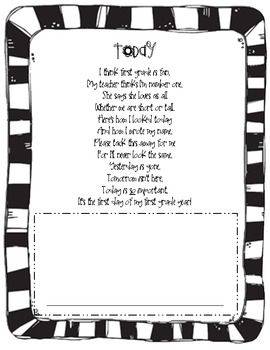 What a great keepsake for moms and dads on their kiddos first day of school! This is a cute poem to read with your students and have them draw a se...: Grade Poems, Student, First Day School, Fluency Poems, First Day Of School, 1St Grade, Kid