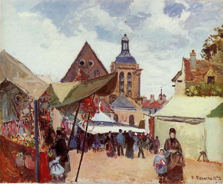 September Fete, Pontoise, 1872, Camille Pissarro Size: 55x46 cm Medium: oil on canvas