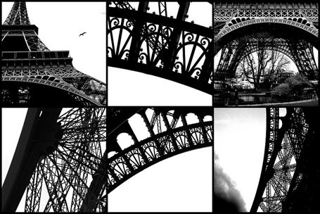 Eiffel Tower, Paris, France; a big graphic Eiffel Tower on one of the walls