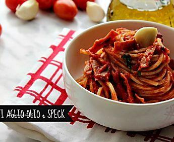 spaghetti aglio olio e speck ricetta primo piatto appetitoso