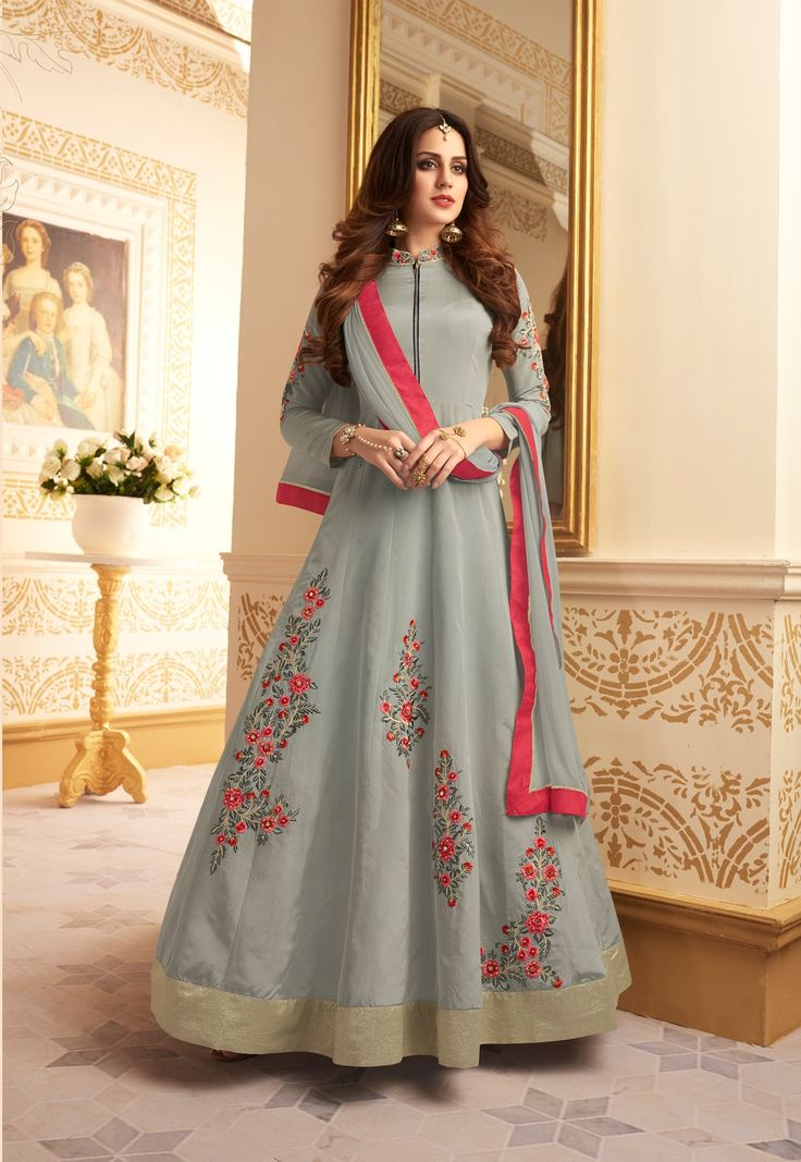 Gray Color Taffeta Silk Ankle Length Anarkali Suit After placed order you should submit Measurement Here