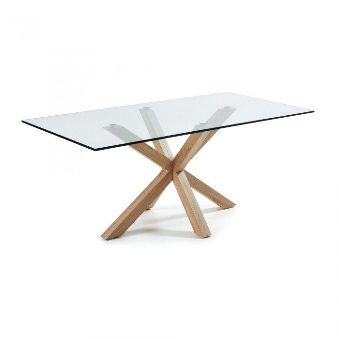 Table avec pieds en acier en sonoma couleur naturelle et plateau en verre trempé.