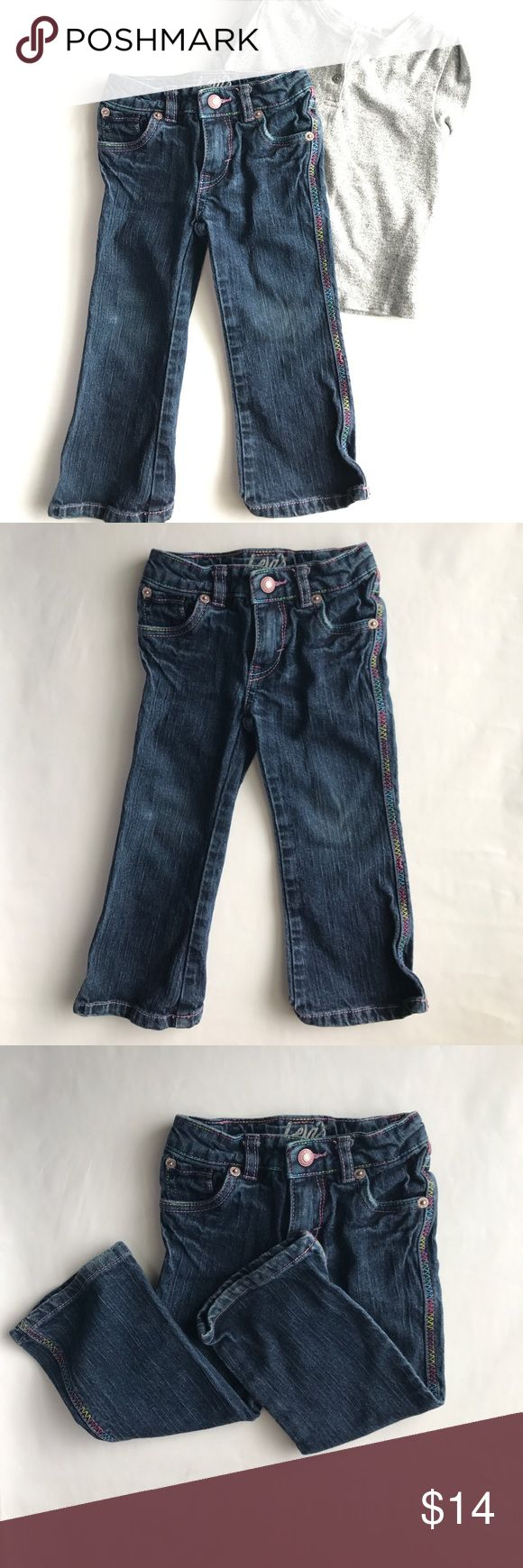 Color me happy ☆ Levi's 👖 Levi's Jeans | Size: 2T with adjustable waist | Blue jeans with multicolored lined stitching | EUC Levi's Bottoms Jeans
