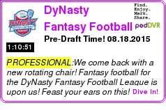#PROFESSIONAL #PODCAST  DyNasty Fantasy Football Podcast    Pre-Draft Time! ? 08.18.2015    LISTEN...  http://podDVR.COM/?c=7d36bc13-68dc-8c60-ec9b-1739f30dcac9