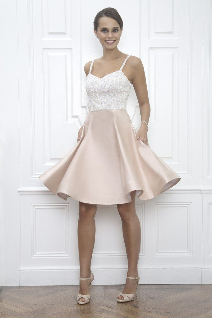 Elizabeth Sequin And Blush Pink Silk Wedding Reception After Party Dress