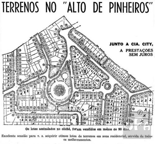 Cia City's map with land division of Alto de Pinheiros area, circa 1946.  Sao Paulo - Brazil  Details and actual view:  http://www.saopauloantiga.com.br/blog/terrenos-no-alto-de-pinheiros/
