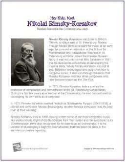 Nikolai Rimsky-Korsakov   Free Printable Composer Biography - http://makingmusicfun.net/htm/f_printit_biographies/rimsky-korsakov-printit-biography.htm