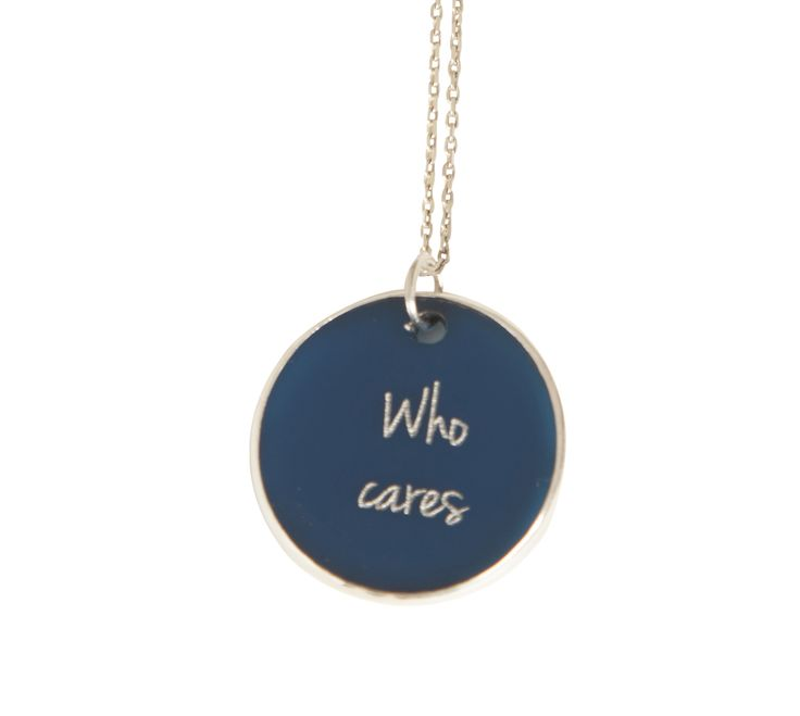 '' Who Cares '' silver chian and plexiglass necklace