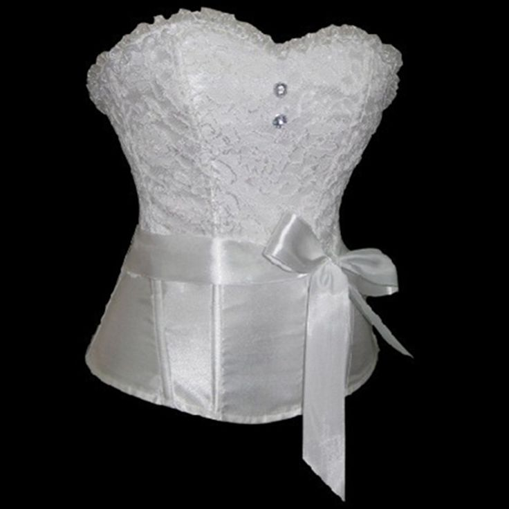 Hot sale plus size satin lace up overbust corset white sexy lingerie bride wedding bustiers waist trainer women corsets