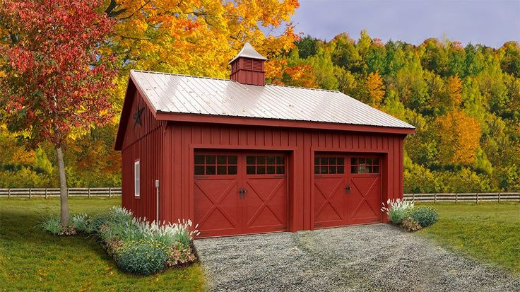 24 x 24 Board and Batten 2 Car Garage | Penn Dutch Structures