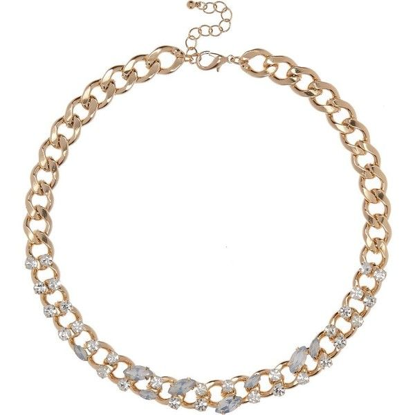 River Island Gold tone embellished chain necklace ($24) ❤ liked on Polyvore featuring jewelry, necklaces, gold, women, goldtone jewelry, gold colored necklace, chains jewelry, gold tone jewelry and chain necklaces