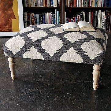 Turned-Leg Dhurrie Ottoman (westelm): Westelm, Coffee Tables, Idea, Living Rooms, Pattern, Upholstered Ottomans, West Elm, Dhurri Ottomans, Stools