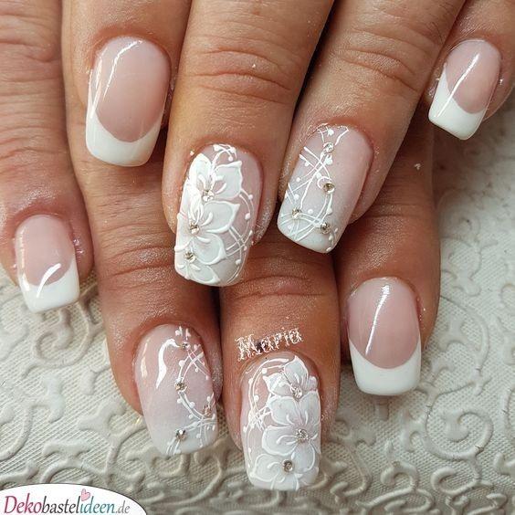 Ongles de mariée avec motif floral   – Braut Nageldesign