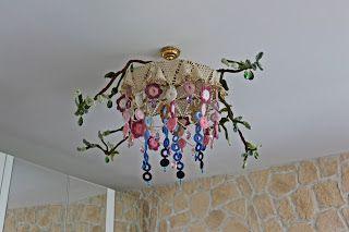 uncinetto moda e fantasia: lampadario multicolore primavera