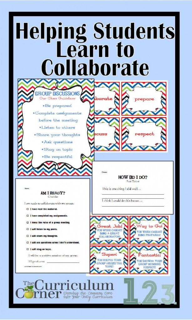 Free lesson plans to help you meet CCSS standards on collaboration for 2nd and 3rd grades from The Curriculum Corner  CCSS.ELA-LITERACY.SL.2.1  CCSS.ELA-LITERACY.SL.3.1
