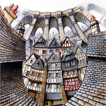 """Alain Coadou, fresque morlaisienne : Les courbes des ardoises et du viaduc chavirent les visiteurs ! L'artiste est invité inédit de la boutique """"Le Baiser de l'hôtel de ville"""" à Morlaix."""