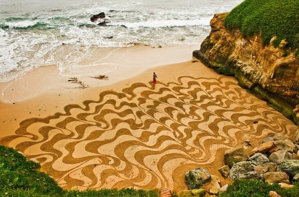 landscape art by andres amador - on the beach, ready to be washed away by the rising tide.