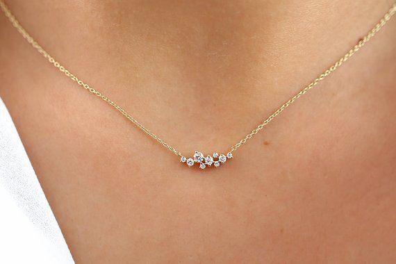 Cluster Necklace in 14k Gold / Diamond Cluster Necklace / Unique Diamond Layering Necklace / Diamond Necklace / Black Friday