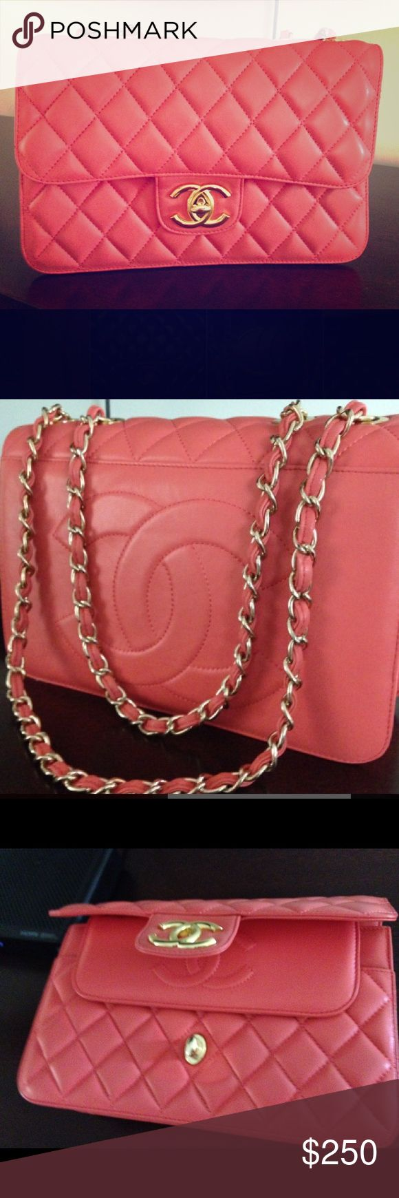 Designer style quilted flap gold chain strap purse Brand new genuine leather! Beautiful pink/salmon color quilted leather with gold hardware. Medium size. This was a gift so I am not sure of the authenticity hence the price. #CC #flap #classic #quilted #toryburch #katespade #chanel #dior Bags Mini Bags