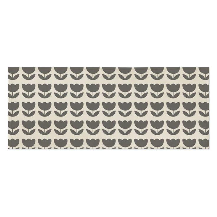 Fabric Print Tablecloth Desk Cover Mat 100X45Cm Table Runner Gray Flower Pattern
