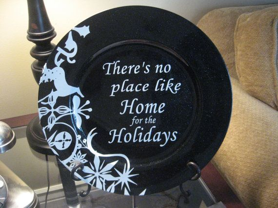 Home for the Holidays vinyl for charger plate by LinesToLiveBy, $10.00