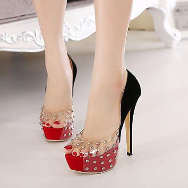 Calçados Femininos PVC Salto Agulha Saltos/Peep Toe/Plataforma Plataformas / Saltos Social/Festas & Noite Vermelho – BRL R$ 188,07
