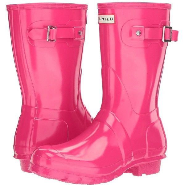 Hunter Original Short Gloss (Bright Pink) Women's Rain Boots (72095 SYP) ❤ liked on Polyvore featuring shoes, boots, mid-calf boots, calf length boots, buckle boots, rain boots, short welly boots and short heel boots
