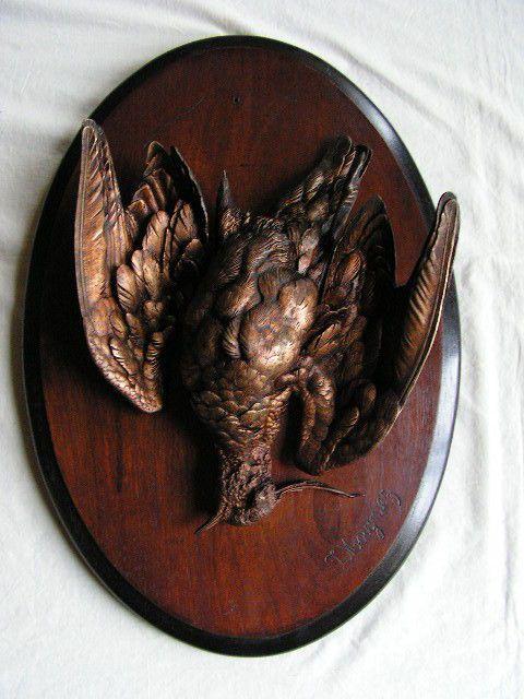 ancien gros bronze animalier chasse cynégétique becasse par jules moigniez XIXe