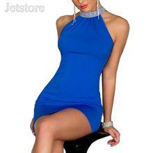 Doğrudan tedarik Kadınlar Halter Çıplak omuz Mavi/Mor elbise Mini Elbiseler Gece Kulübü Gece Kulübü Clubwear Elbise 8865(China (Mainland))