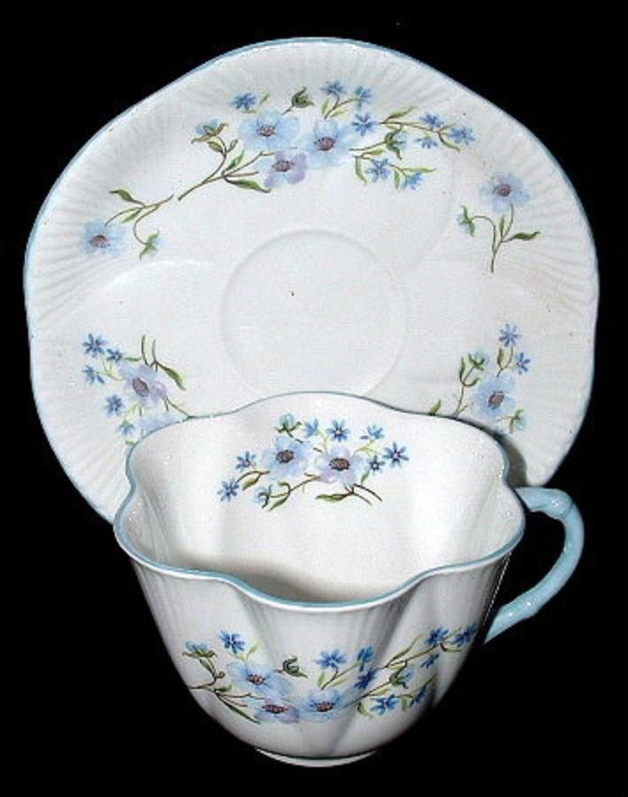 Shelley China Dainty Shape Blue Rock Cup and Saucer England Bone China – Antiques And Teacups