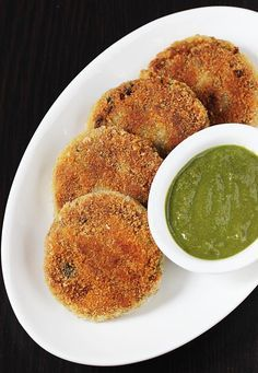 veg cutlet recipe with green chutney - crispy vegetable patties that can be served on their own with a green chutney or as a patty in a veg burger.