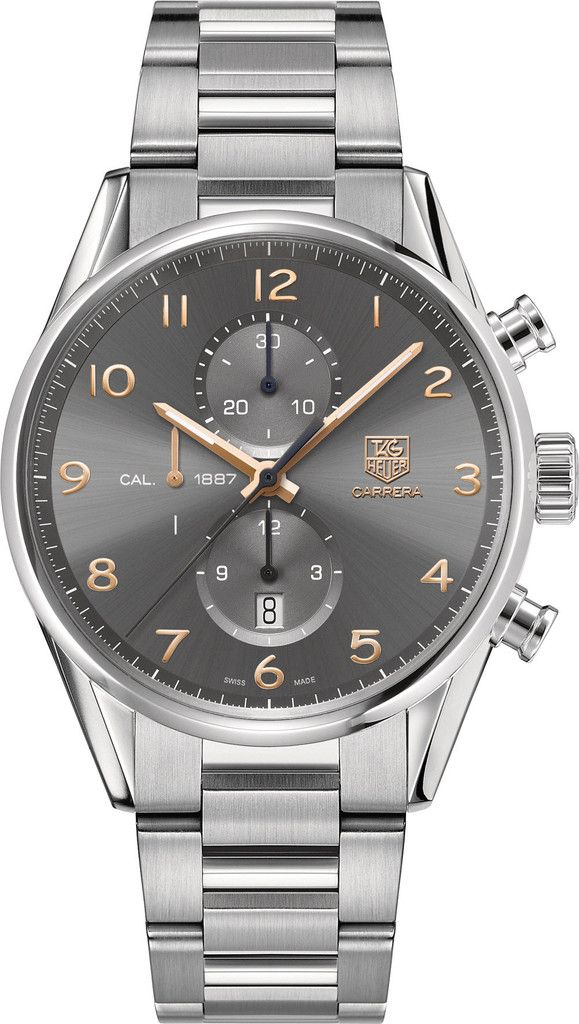 Tagheur Watch Carrera Chronograph Calibre 1887 - gold numerals and hands against a slate gray dial - what's not to like?