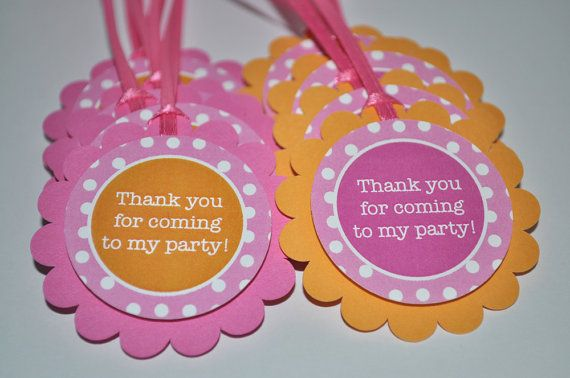 12 Birthday Party Favor Tags, Food Labels - Orange, Pink and White Polkadots via Etsy