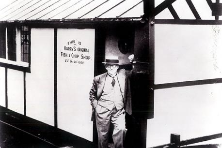 Harry Ramsden and the shed from which he started his fish and chip empire