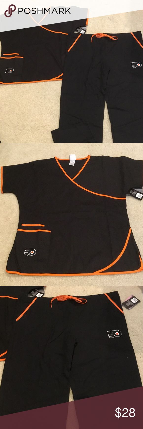"NWT Philadelphia Flyers Scrubs Set Size Large NWT Philadelphia Flyers Scrub Set - top and bottom size Large. Top and bottom are 65% polyester, 35% cotton. Top and bottom are black with orange accents. Top has two pockets with Flyers logo on the pocket. Bottom has two pockets and the Flyers logo on the left leg. Top bust measures approx. 25"" across. Pants measure waist to hem 42"". Pants have an orange drawstring. Scrub Dudz Other"