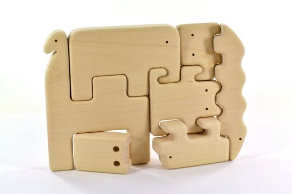 Organic Wooden Animal Puzzle - Set of 7 Wooden Animals - Wooden Zoo for Kids on Etsy,