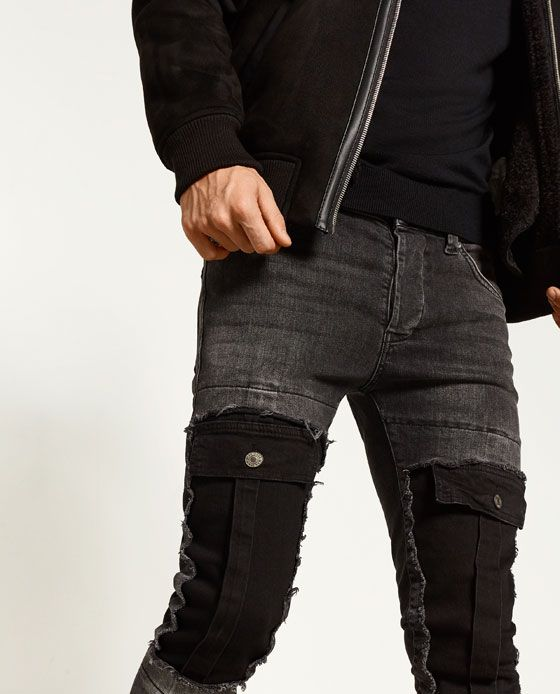 Image 3 of SKINNY FIT CARGO JEANS from Zara