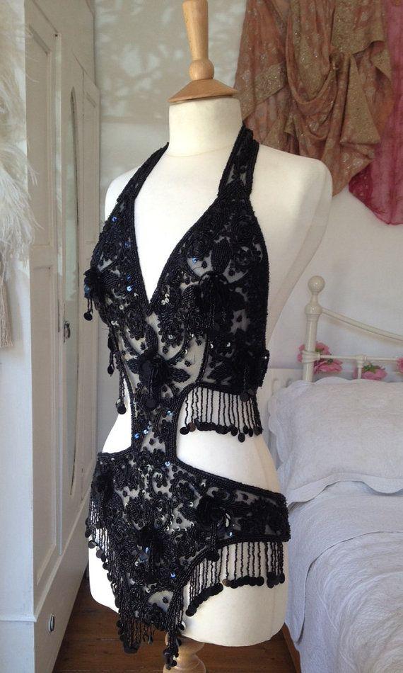 Embellished Black Sequin Showgirl Body